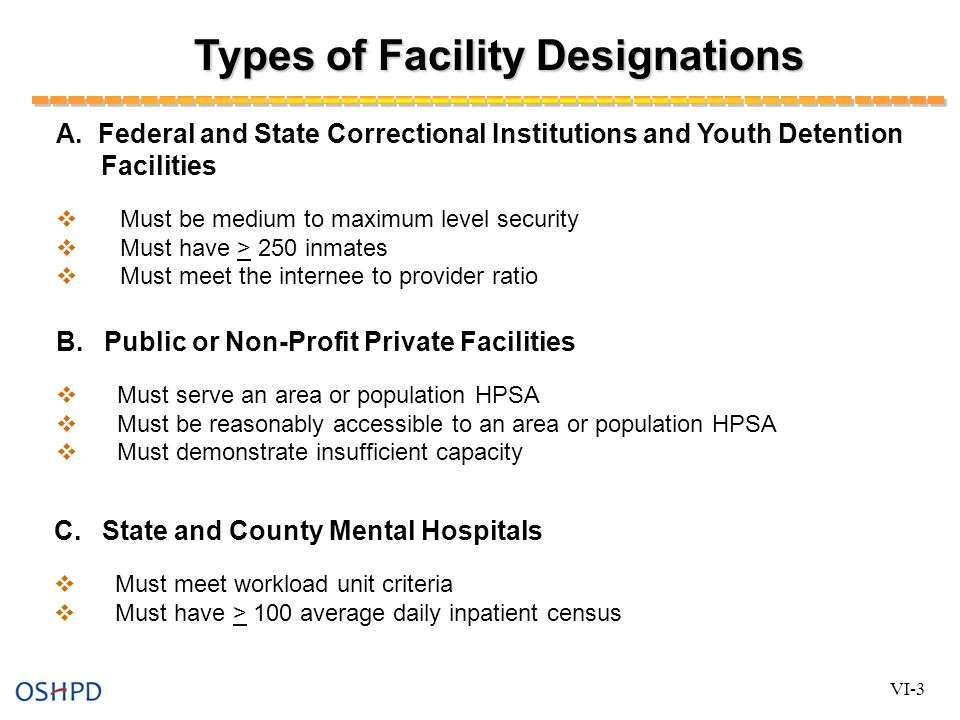 Types of Facility Designations A.