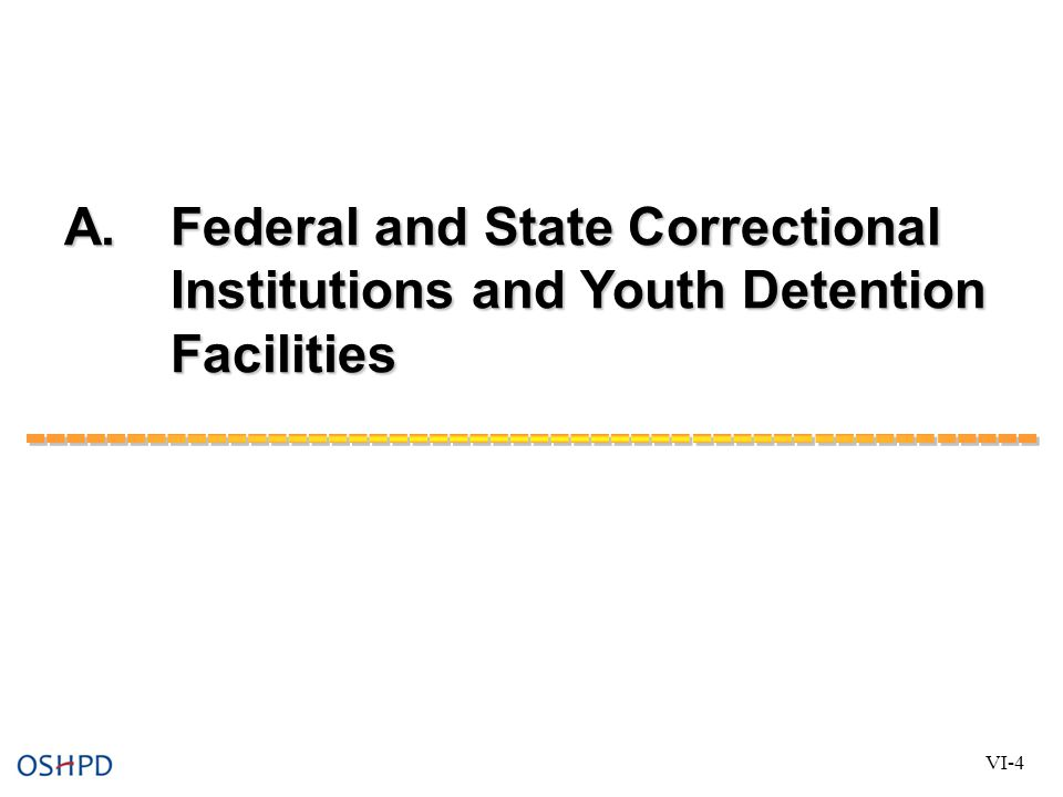 A. Federal and State Correctional Institutions and Youth Detention Facilities VI-4