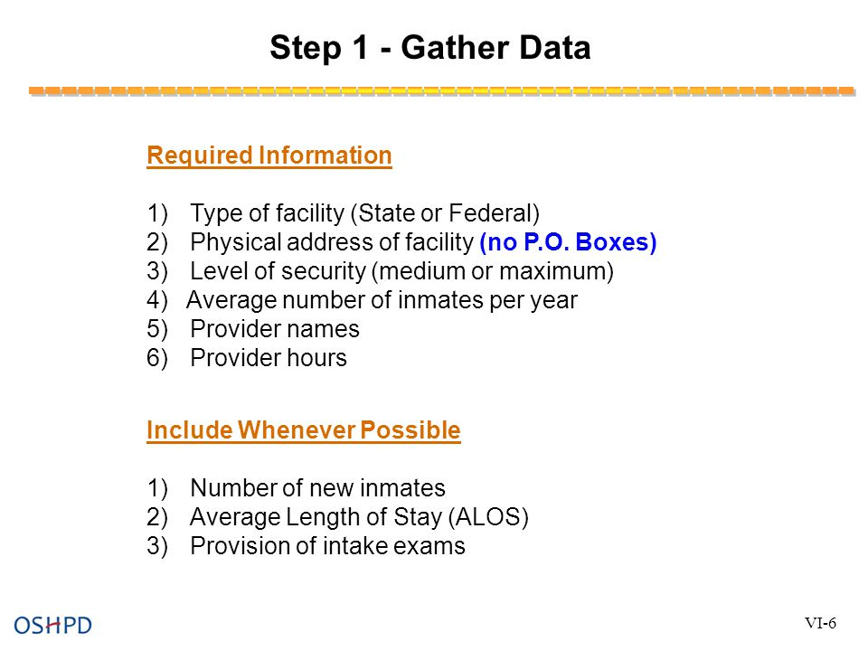 Step 1 - Gather Data Required Information 1)Type of facility (State or Federal) 2)Physical address of facility (no P.O. Boxes) 3)Level of security (me