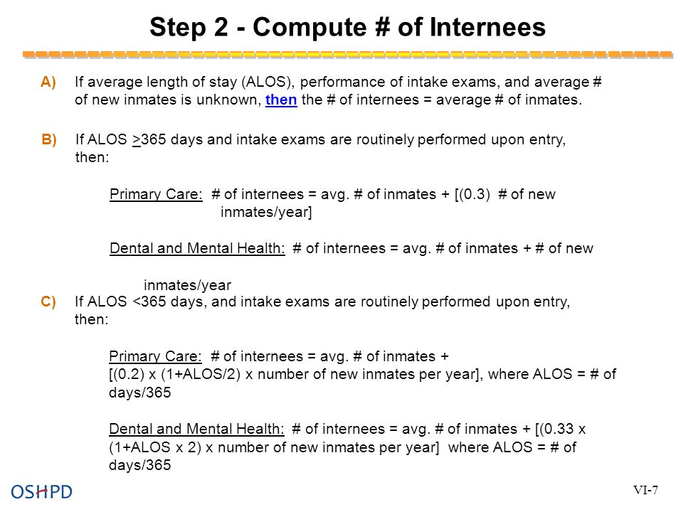 Step 2 - Compute # of Internees A)If average length of stay (ALOS), performance of intake exams, and average # of new inmates is unknown, then the # of internees = average # of inmates.