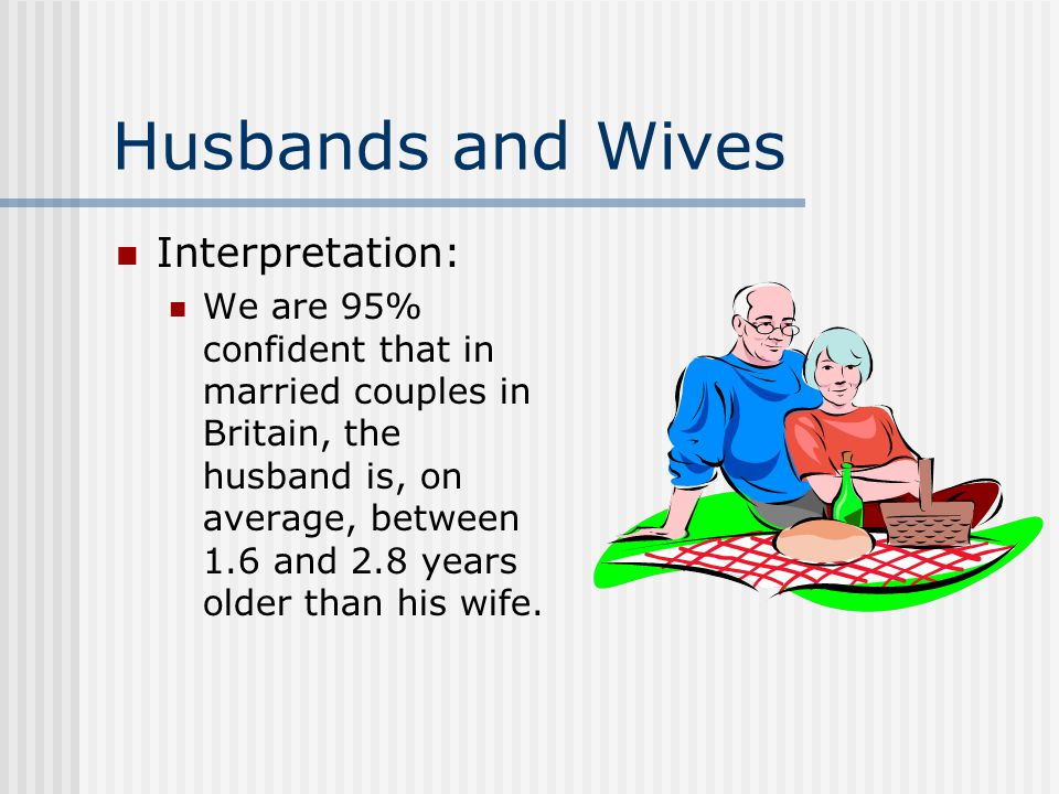 Husbands and Wives Interpretation: We are 95% confident that in married couples in Britain, the husband is, on average, between 1.6 and 2.8 years older than his wife.