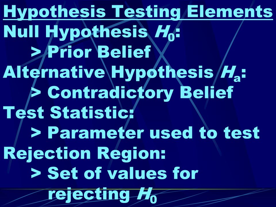 Hypothesis Testing Elements Null Hypothesis H 0 : > Prior Belief Alternative Hypothesis H a : > Contradictory Belief Test Statistic: > Parameter used to test Rejection Region: > Set of values for rejecting H 0