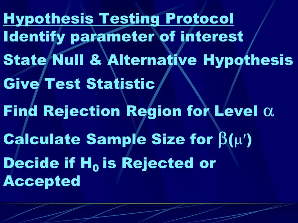 Hypothesis Testing Protocol Identify parameter of interest State Null & Alternative Hypothesis Give Test Statistic Find Rejection Region for Level  Calculate Sample Size for  (  ) Decide if H 0 is Rejected or Accepted