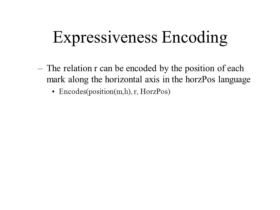 Expressiveness Encoding –The relation r can be encoded by the position of each mark along the horizontal axis in the horzPos language Encodes(position(m,h), r, HorzPos)