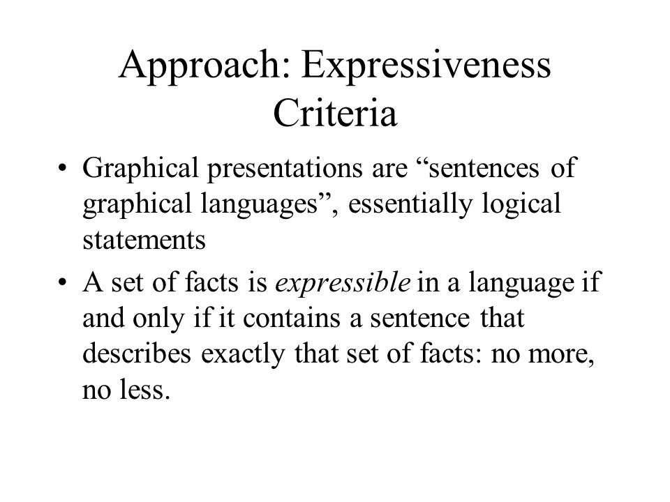 Expressiveness Criteria A graphical sentence s describes objects and their locations.