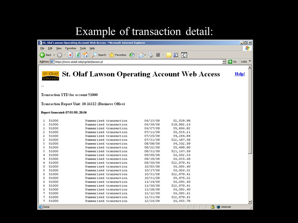 Example of transaction detail: