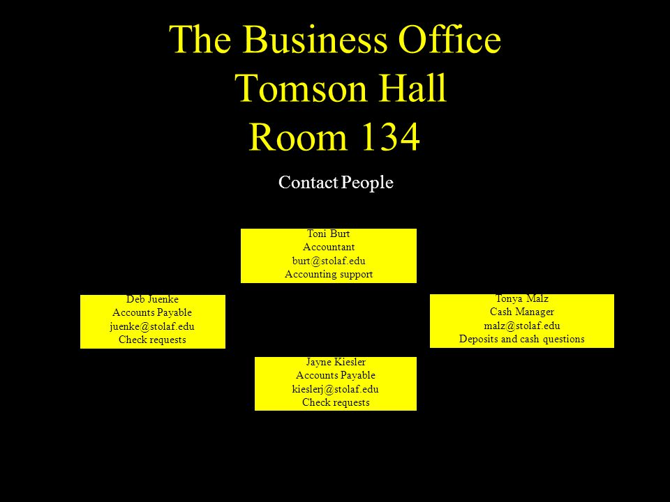 The Business Office Tomson Hall Room 134 Tonya Malz Cash Manager malz@stolaf.edu Deposits and cash questions Toni Burt Accountant burt@stolaf.edu Acco