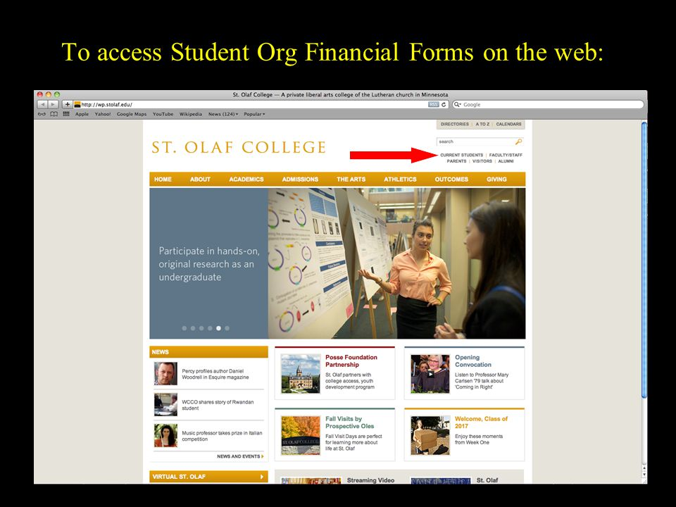 To access Student Org Financial Forms on the web: