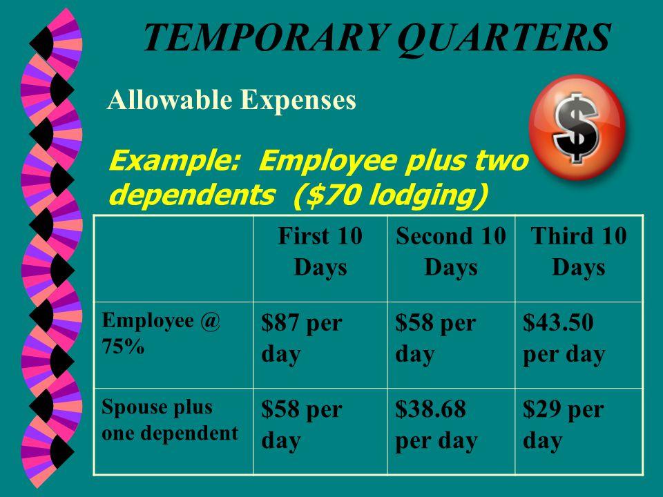 TEMPORARY QUARTERS Allowable Expenses Cont'd: 3.