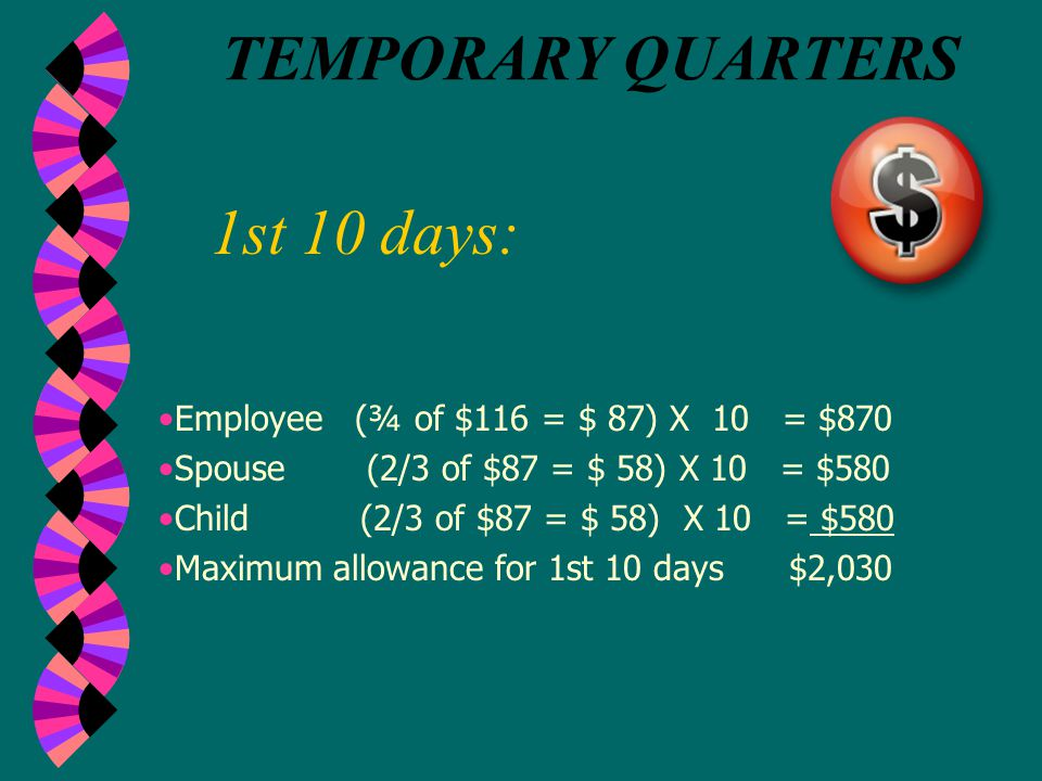 First 10 Days Second 10 Days Third 10 Days Employee @ 75% $87 per day $58 per day $43.50 per day Spouse plus one dependent $58 per day $38.68 per day