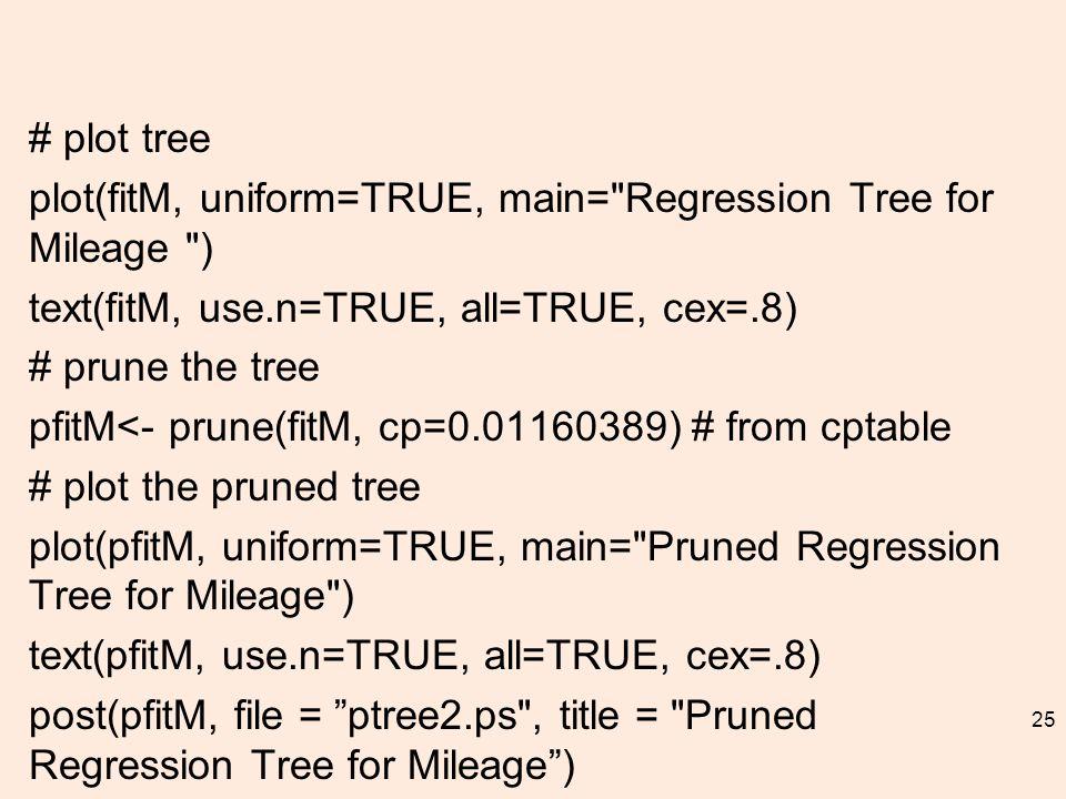 # plot tree plot(fitM, uniform=TRUE, main= Regression Tree for Mileage ) text(fitM, use.n=TRUE, all=TRUE, cex=.8) # prune the tree pfitM<- prune(fitM, cp=0.01160389) # from cptable # plot the pruned tree plot(pfitM, uniform=TRUE, main= Pruned Regression Tree for Mileage ) text(pfitM, use.n=TRUE, all=TRUE, cex=.8) post(pfitM, file = ptree2.ps , title = Pruned Regression Tree for Mileage ) 25