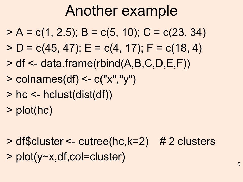Another example > A = c(1, 2.5); B = c(5, 10); C = c(23, 34) > D = c(45, 47); E = c(4, 17); F = c(18, 4) > df <- data.frame(rbind(A,B,C,D,E,F)) > colnames(df) <- c( x , y ) > hc <- hclust(dist(df)) > plot(hc) > df$cluster <- cutree(hc,k=2) # 2 clusters > plot(y~x,df,col=cluster) 9