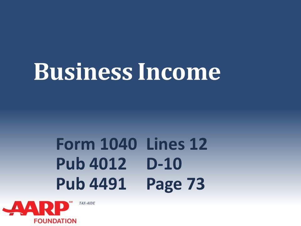 TAX-AIDE Business Income Form 1040Lines 12 Pub 4012D-10 Pub 4491Page 73
