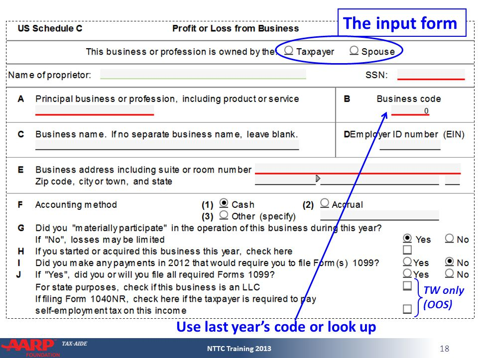 TAX-AIDE TW only (OOS) The input form Use last year's code or look up NTTC Training 2013 18