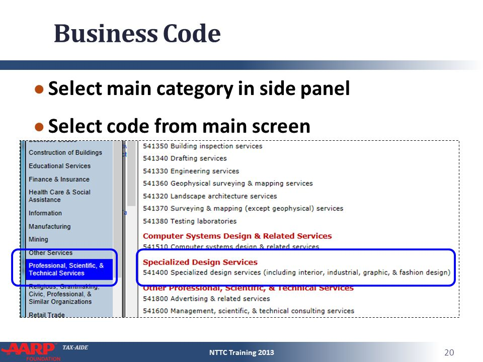 TAX-AIDE Business Code ● Select main category in side panel ● Select code from main screen NTTC Training 2013 20