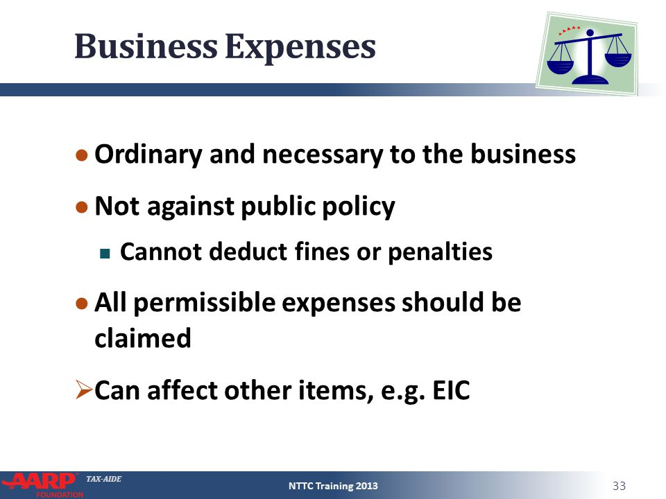 TAX-AIDE Business Expenses ● Ordinary and necessary to the business ● Not against public policy Cannot deduct fines or penalties ● All permissible exp