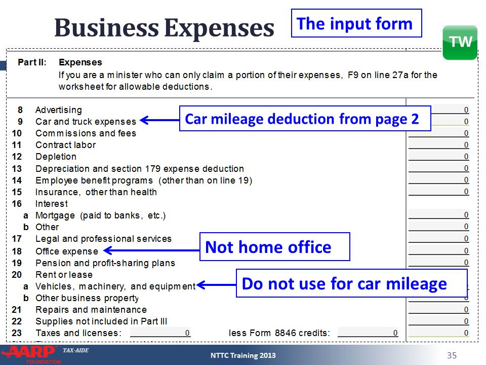 TAX-AIDE The input form Car mileage deduction from page 2 Do not use for car mileage Not home office Business Expenses NTTC Training 2013 35