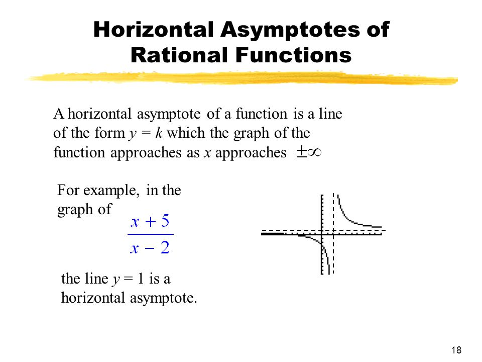 18 Horizontal Asymptotes of Rational Functions A horizontal asymptote of a function is a line of the form y = k which the graph of the function approaches as x approaches For example, in the graph of the line y = 1 is a horizontal asymptote.