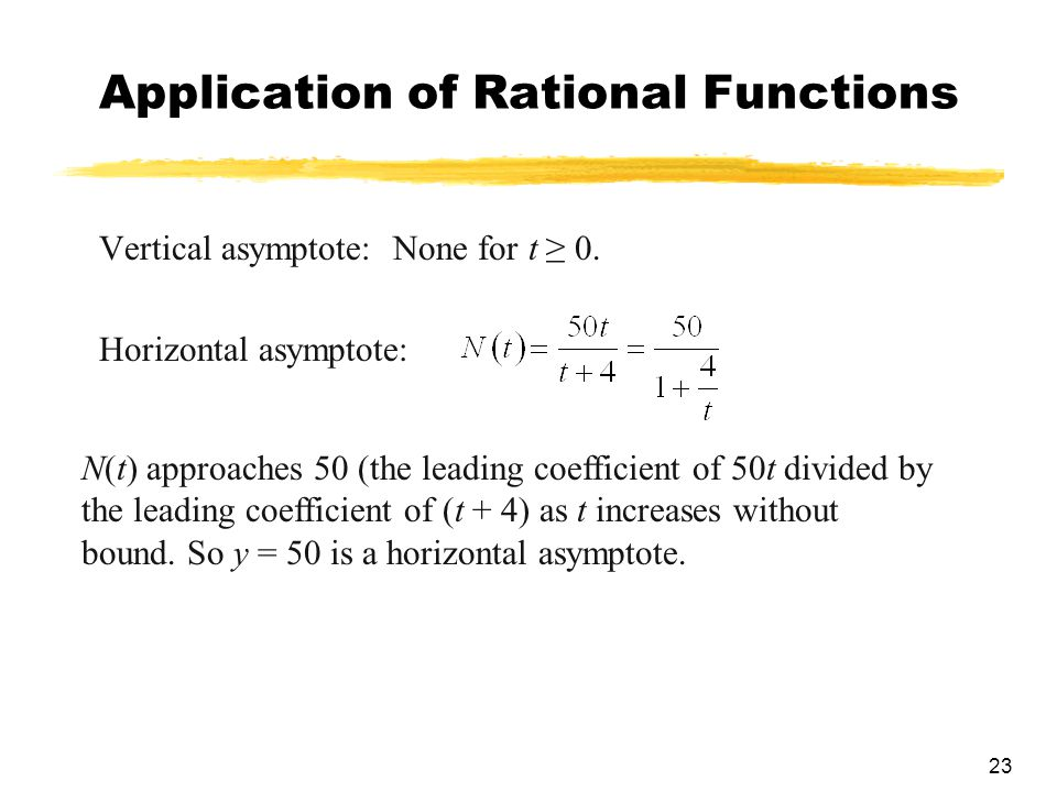 23 Application of Rational Functions Vertical asymptote: None for t ≥ 0.