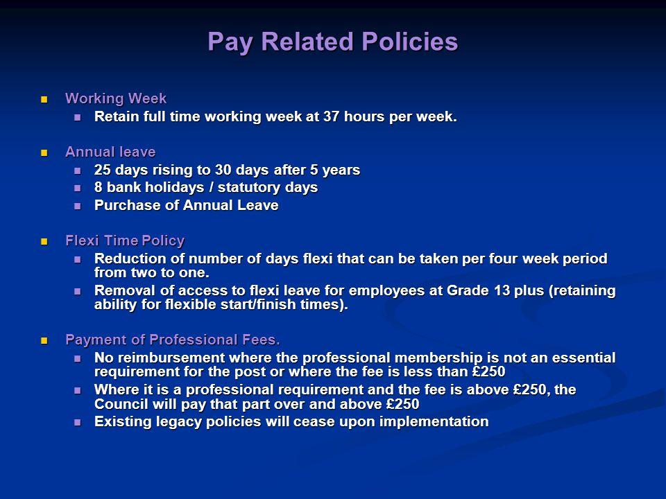 Pay Related Policies Working Week Working Week Retain full time working week at 37 hours per week.
