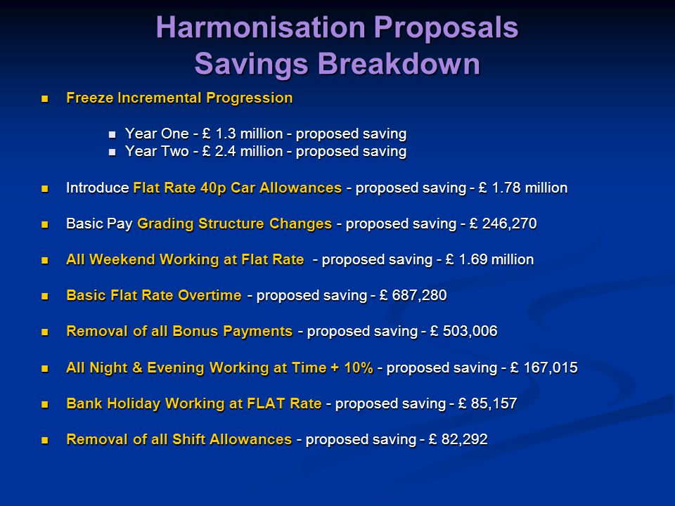 Harmonisation Proposals Savings Breakdown Freeze Incremental Progression Freeze Incremental Progression Year One - £ 1.3 million - proposed saving Year One - £ 1.3 million - proposed saving Year Two - £ 2.4 million - proposed saving Year Two - £ 2.4 million - proposed saving Introduce Flat Rate 40p Car Allowances - proposed saving - £ 1.78 million Introduce Flat Rate 40p Car Allowances - proposed saving - £ 1.78 million Basic Pay Grading Structure Changes - proposed saving - £ 246,270 Basic Pay Grading Structure Changes - proposed saving - £ 246,270 All Weekend Working at Flat Rate - proposed saving - £ 1.69 million All Weekend Working at Flat Rate - proposed saving - £ 1.69 million Basic Flat Rate Overtime - proposed saving - £ 687,280 Basic Flat Rate Overtime - proposed saving - £ 687,280 Removal of all Bonus Payments - proposed saving - £ 503,006 Removal of all Bonus Payments - proposed saving - £ 503,006 All Night & Evening Working at Time + 10% - proposed saving - £ 167,015 All Night & Evening Working at Time + 10% - proposed saving - £ 167,015 Bank Holiday Working at FLAT Rate - proposed saving - £ 85,157 Bank Holiday Working at FLAT Rate - proposed saving - £ 85,157 Removal of all Shift Allowances - proposed saving - £ 82,292 Removal of all Shift Allowances - proposed saving - £ 82,292