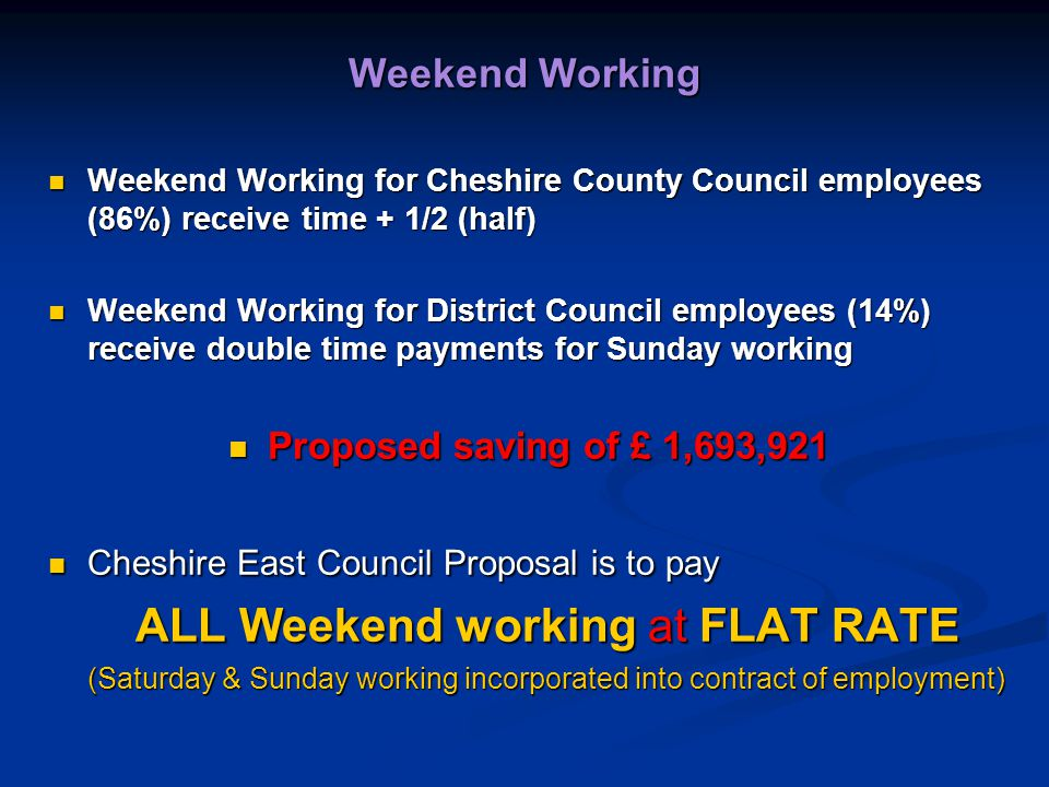 Weekend Working Weekend Working for Cheshire County Council employees (86%) receive time + 1/2 (half) Weekend Working for Cheshire County Council employees (86%) receive time + 1/2 (half) Weekend Working for District Council employees (14%) receive double time payments for Sunday working Weekend Working for District Council employees (14%) receive double time payments for Sunday working Proposed saving of £ 1,693,921 Proposed saving of £ 1,693,921 Cheshire East Council Proposal is to pay Cheshire East Council Proposal is to pay ALL Weekend working at FLAT RATE (Saturday & Sunday working incorporated into contract of employment)