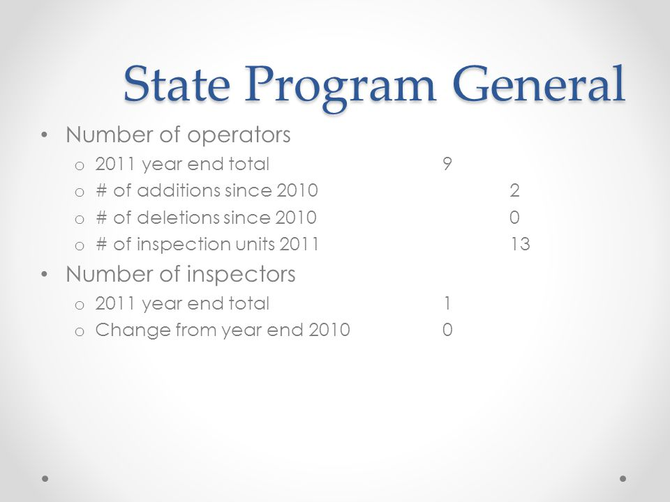 State Program General State Program General Number of operators o 2011 year end total9 o # of additions since 20102 o # of deletions since 20100 o # of inspection units 201113 Number of inspectors o 2011 year end total1 o Change from year end 20100