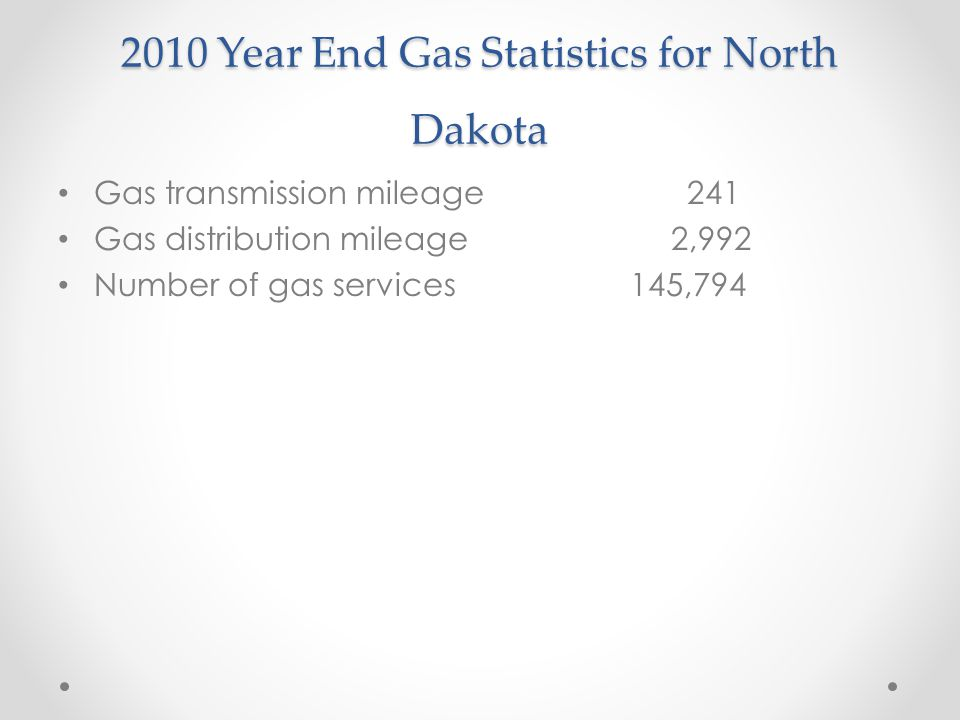 2010 Year End Gas Statistics for North Dakota Gas transmission mileage 241 Gas distribution mileage 2,992 Number of gas services 145,794
