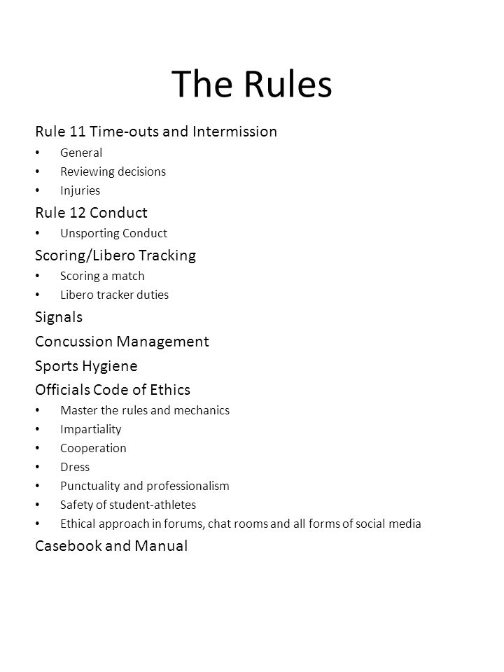 Points of Emphasis – NFHS 2013-2014 The new signal sequence requires the first referee to whistle, indicate result of play (loss of rally/point or replay), then give the correct signal for the fault.