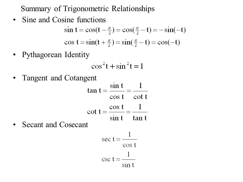 Summary of Trigonometric Relationships Sine and Cosine functions Pythagorean Identity Tangent and Cotangent Secant and Cosecant