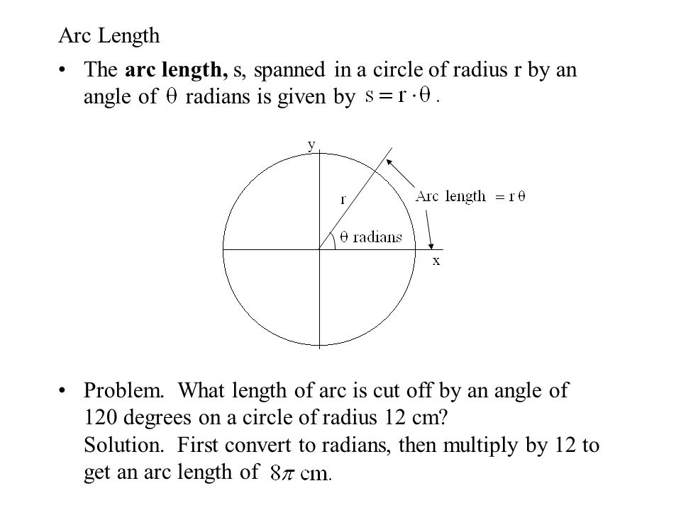 Arc Length The arc length, s, spanned in a circle of radius r by an angle of radians is given by Problem. What length of arc is cut off by an angle of