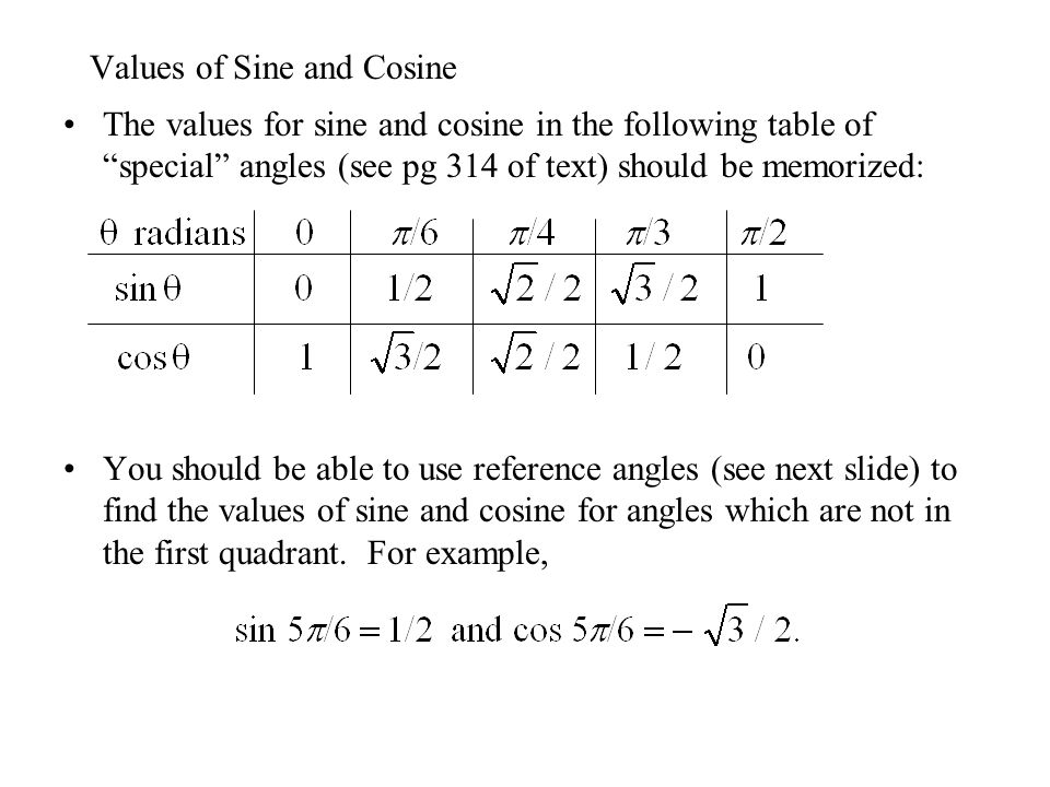 """Values of Sine and Cosine The values for sine and cosine in the following table of """"special"""" angles (see pg 314 of text) should be memorized: You shou"""