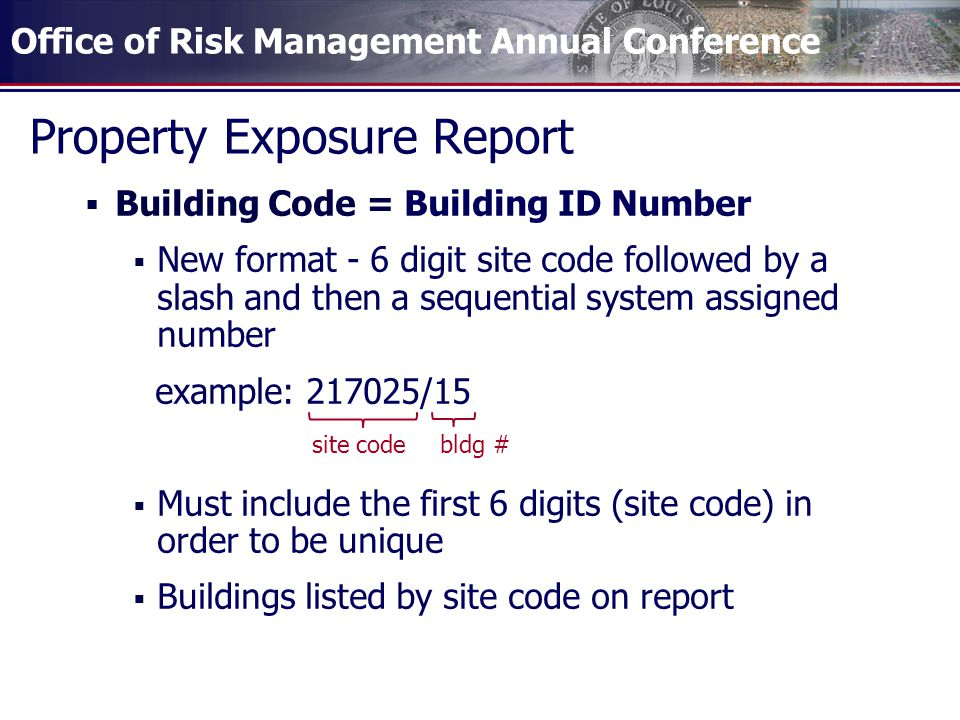 Office of Risk Management Annual Conference Property Exposure Report  Building Code = Building ID Number  New format - 6 digit site code followed by a slash and then a sequential system assigned number example: 217025/15  Must include the first 6 digits (site code) in order to be unique  Buildings listed by site code on report site code bldg #