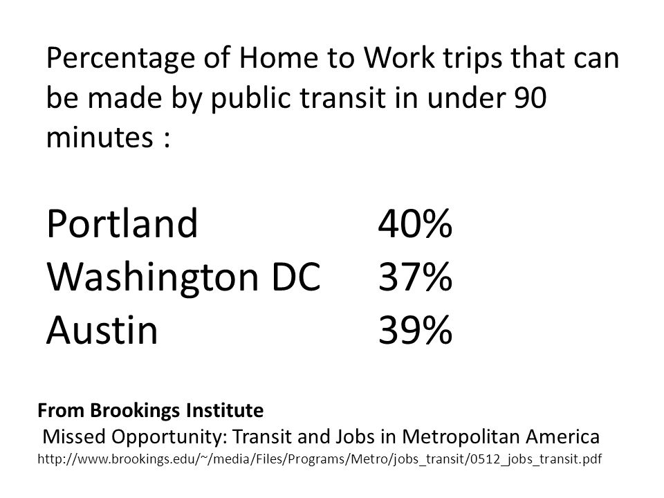 From Brookings Institute Missed Opportunity: Transit and Jobs in Metropolitan America http://www.brookings.edu/~/media/Files/Programs/Metro/jobs_transit/0512_jobs_transit.pdf Percentage of Home to Work trips that can be made by public transit in under 90 minutes : Portland 40% Washington DC37% Austin39%