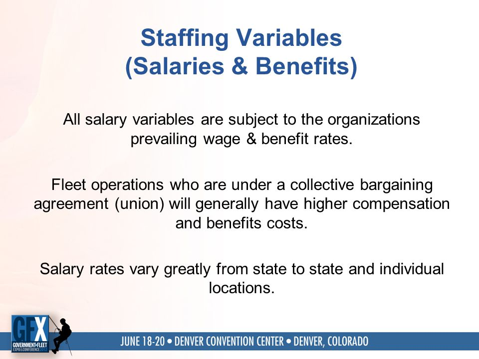 Staffing Variables (Salaries & Benefits) All salary variables are subject to the organizations prevailing wage & benefit rates.
