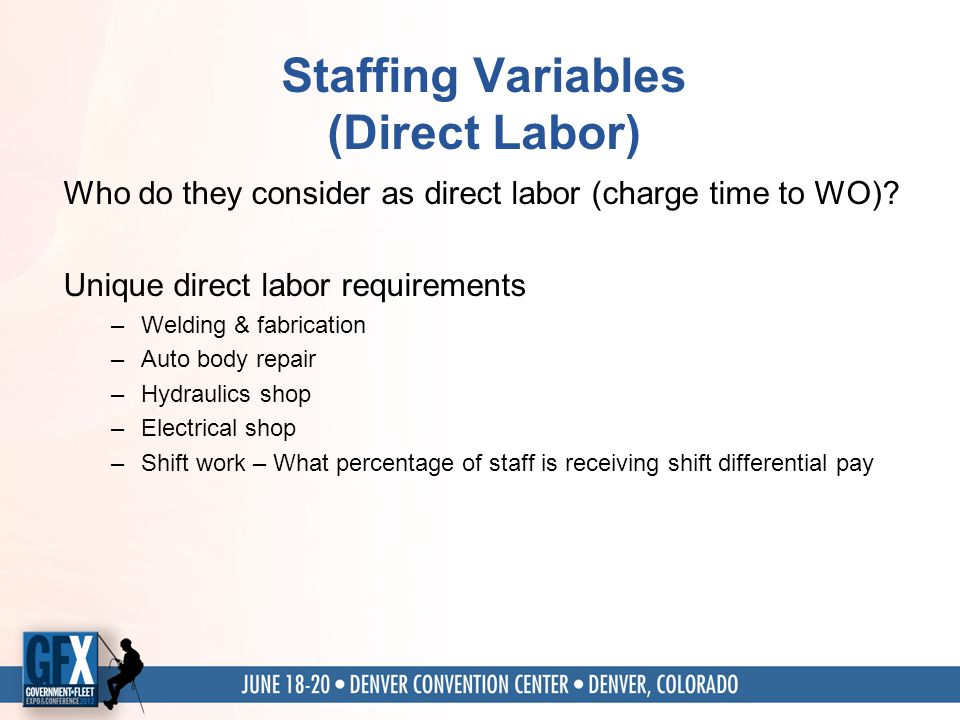 Staffing Variables (Direct Labor) Who do they consider as direct labor (charge time to WO).