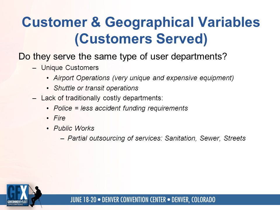 Customer & Geographical Variables (Customers Served) Do they serve the same type of user departments.