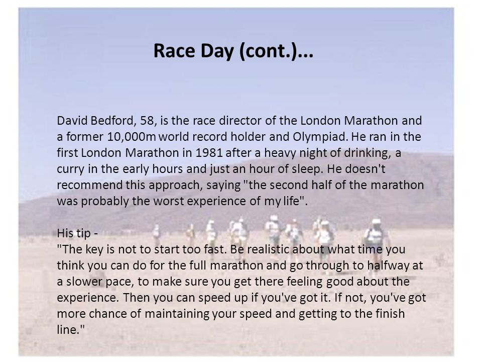 Race Day (cont.)...