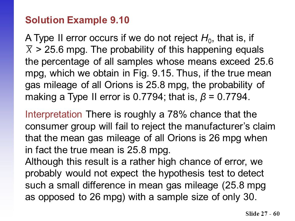 Slide 27 - 60 Solution Example 9.10 A Type II error occurs if we do not reject H 0, that is, if > 25.6 mpg.