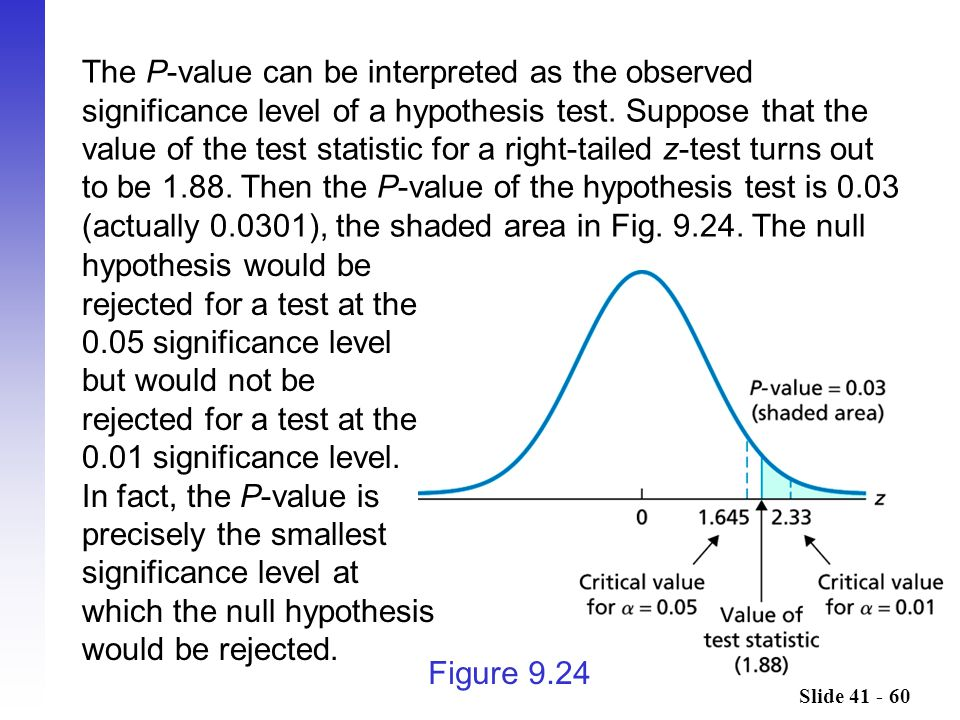 Slide 41 - 60 Figure 9.24 hypothesis would be rejected for a test at the 0.05 significance level but would not be rejected for a test at the 0.01 sign