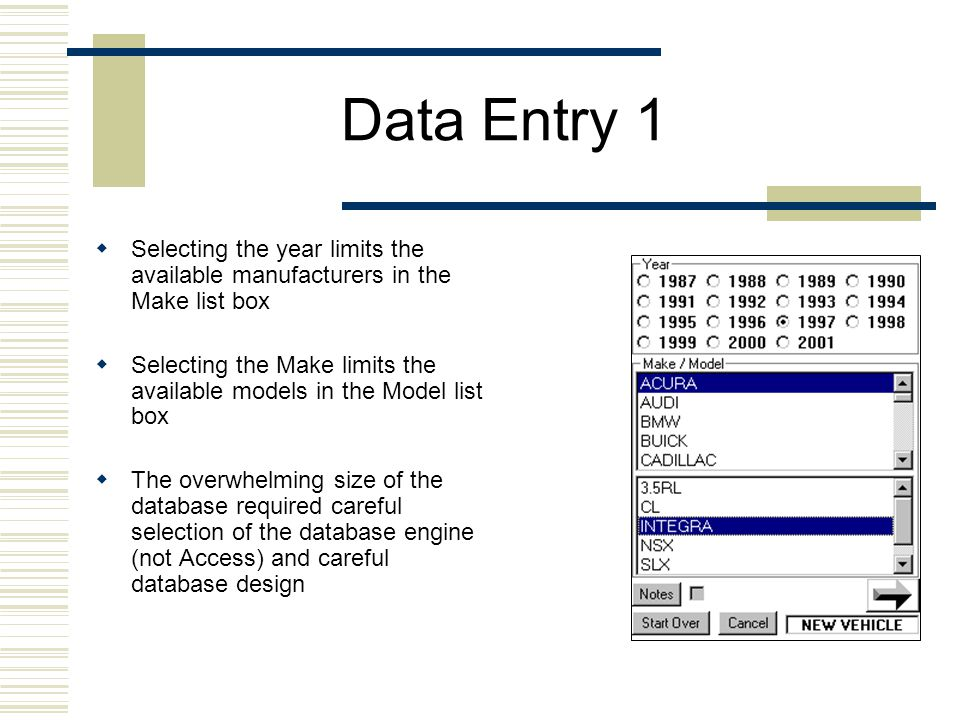 Data Entry 1  Selecting the year limits the available manufacturers in the Make list box  Selecting the Make limits the available models in the Model list box  The overwhelming size of the database required careful selection of the database engine (not Access) and careful database design