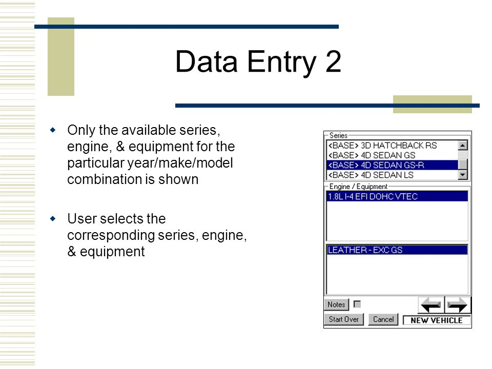 Data Entry 3  Only the available equipment and/or engine options are shown for the particular year/make/model combination  User selects the equipment/engine options  User selects the condition, mileage, price of the vehicle