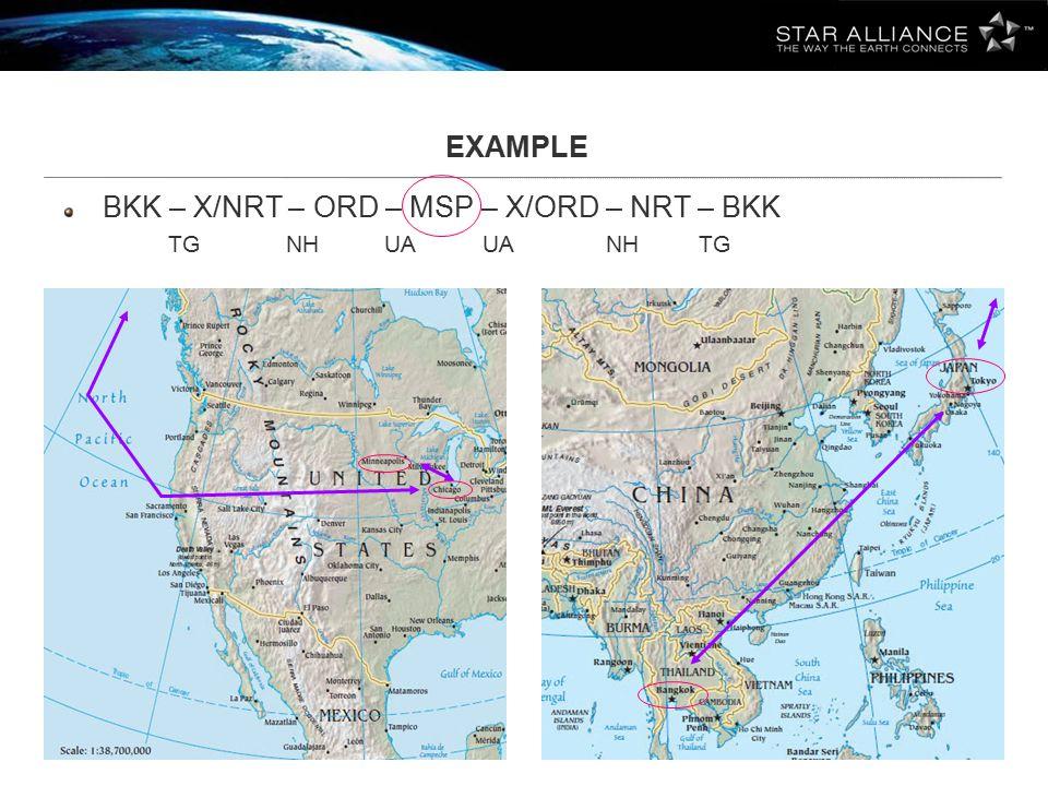EXAMPLE BKK – X/NRT – ORD – MSP – X/ORD – NRT – BKK TG NH UA UA NH TG