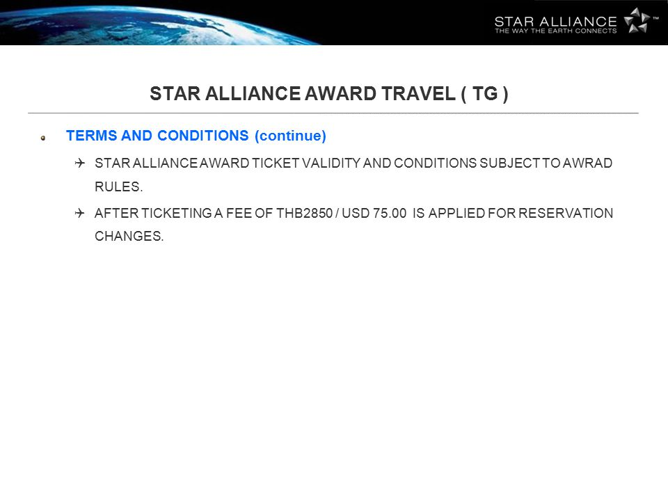 AIR AWARDS ON STAR ALLIANCE AIRLINES ECONOMY CLASS
