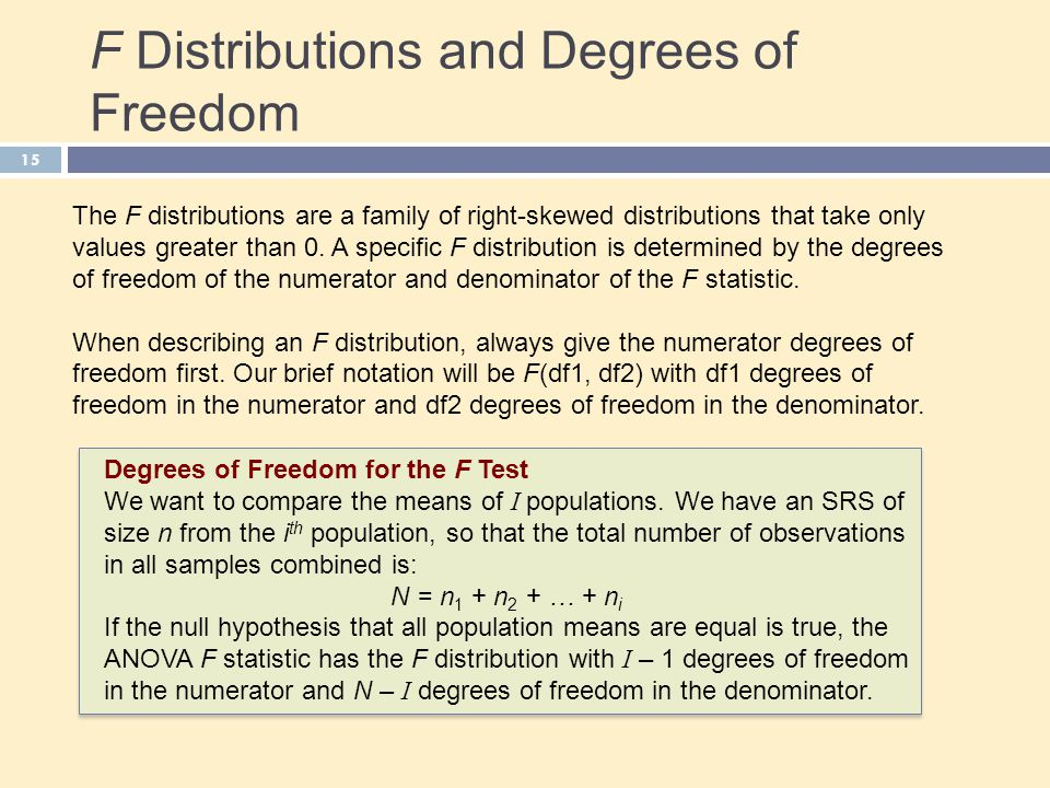 F Distributions and Degrees of Freedom 15 The F distributions are a family of right-skewed distributions that take only values greater than 0. A speci