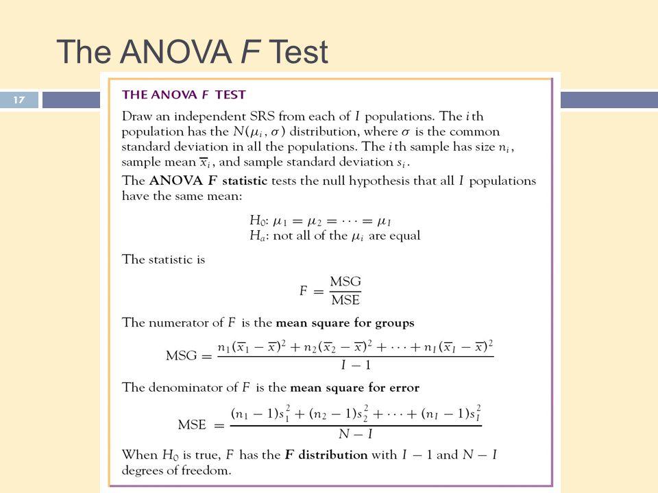 The ANOVA F Test 17