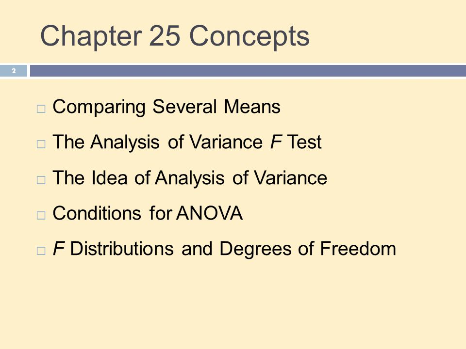 Chapter 25 Concepts 2  Comparing Several Means  The Analysis of Variance F Test  The Idea of Analysis of Variance  Conditions for ANOVA  F Distri