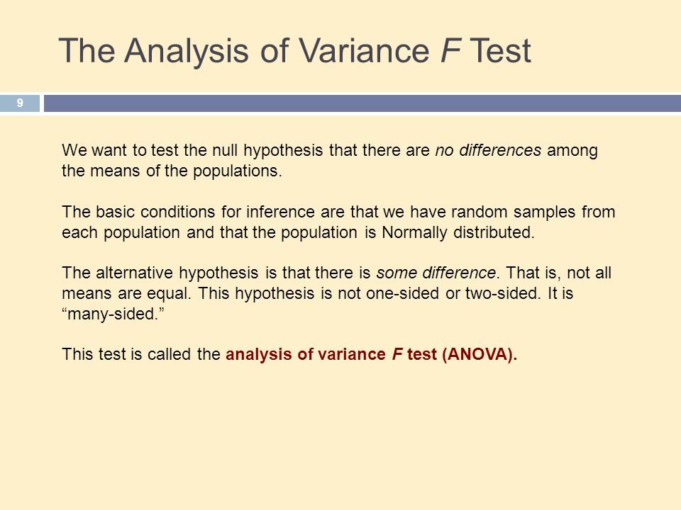 The Analysis of Variance F Test 9 We want to test the null hypothesis that there are no differences among the means of the populations.