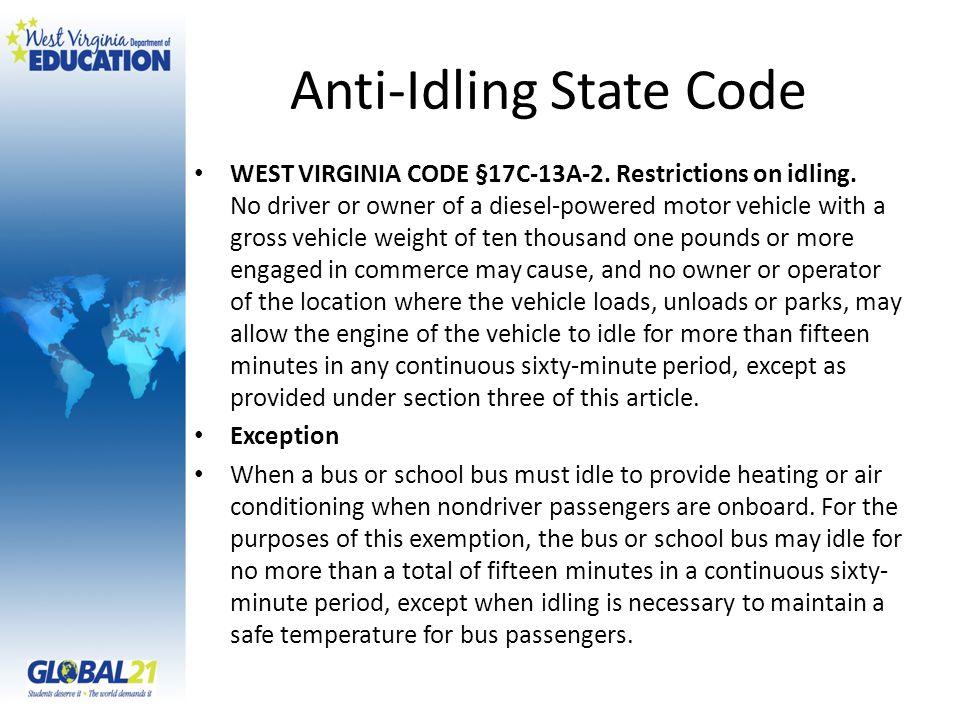 Anti-Idling State Code WEST VIRGINIA CODE §17C-13A-2.