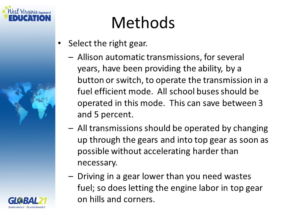 Methods Select the right gear.